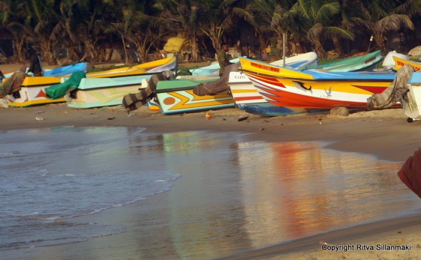 Colorful fishing boats in Sri Lanka