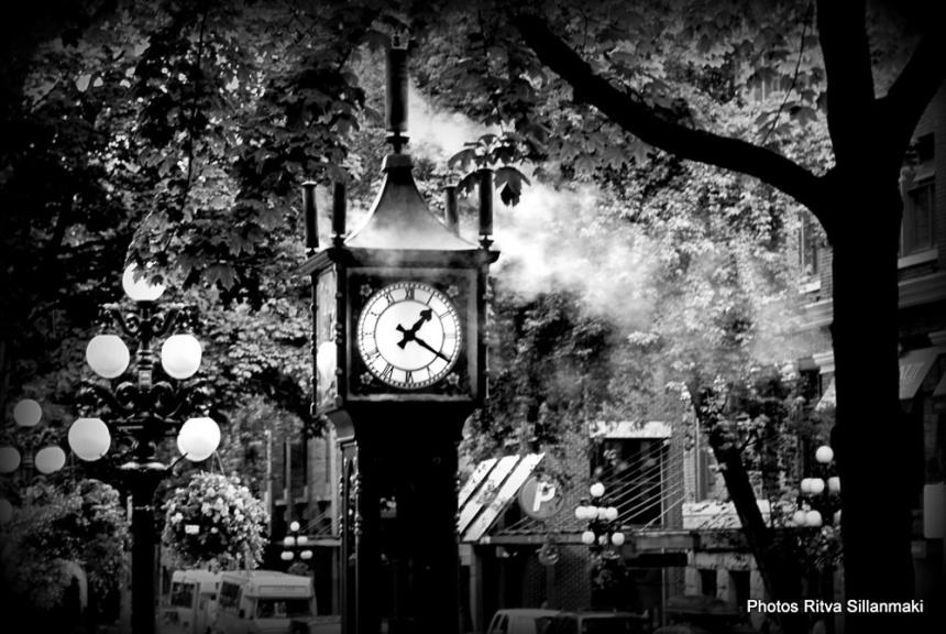steam-powered clock B&W
