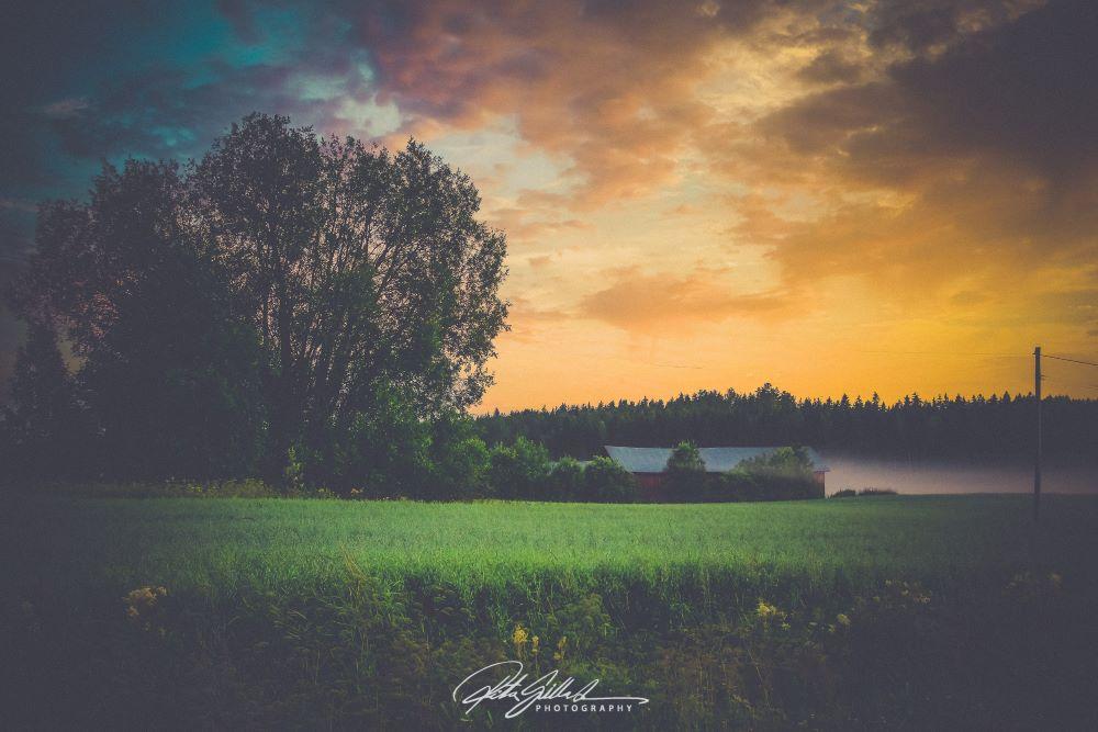 Beautiful sunset in Lahti Finland